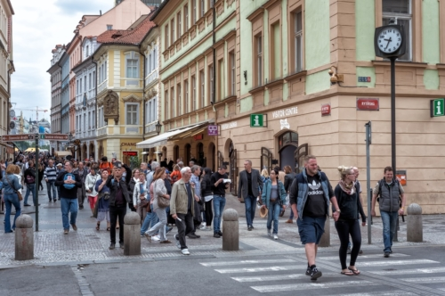 Pedestrians Cross an Rytirska Street. Prague, Czech Republic - slon.pics - free stock photos and illustrations