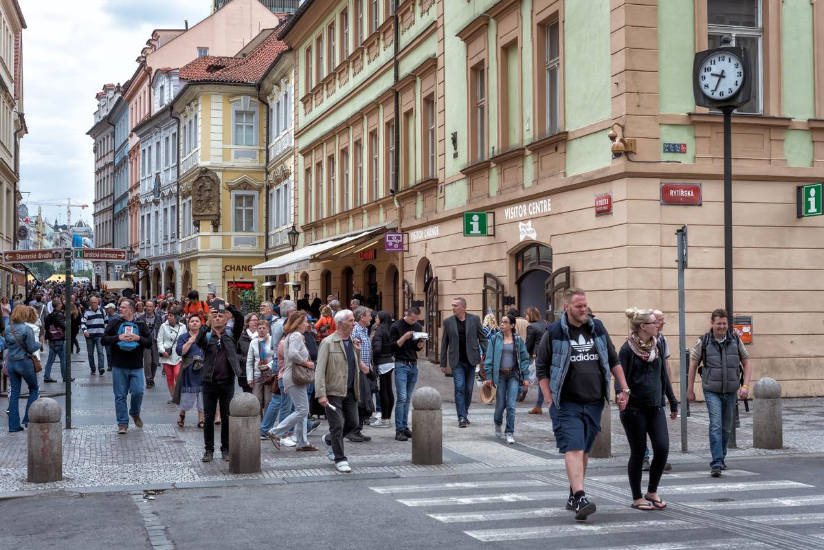 Pedestrians Cross an Rytirska Street. Prague, Czech Republic - slon.pics - free stock photos and illustrations