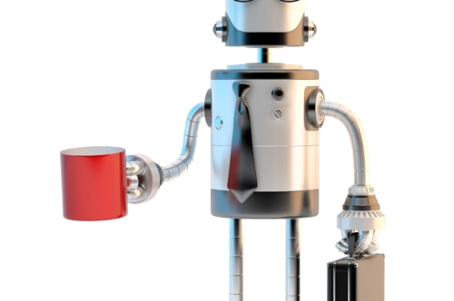 Robot businessman in suit and eyeglasses holding cup of coffee - slon.pics - free stock photos and illustrations