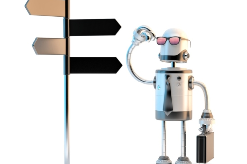 Robot businessman standing confused near sign post - slon.pics - free stock photos and illustrations