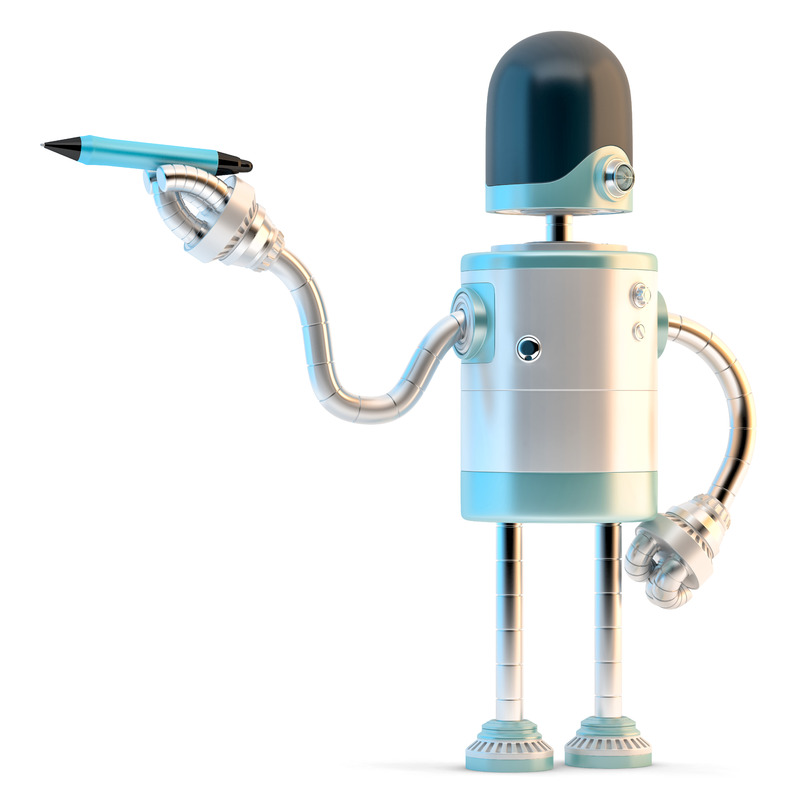 Robot writing with a pen - slon.pics - free stock photos and illustrations