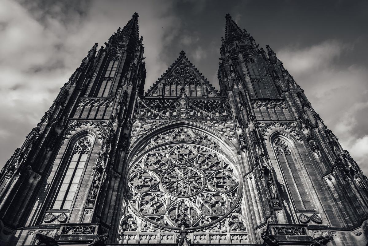 Saint Vitus Cathedral facade, Prague Castle, Czech Republic - slon.pics - free stock photos and illustrations