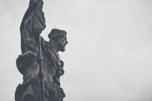 Saint Wenceslas statue at Marian Plague column on the main square of Cesky Krumlov, Czech republic - slon.pics - free stock photos and illustrations