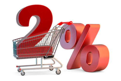 Shopping cart with 2% discount sign. 3D illustration. Isolated. Contains clipping path - slon.pics - free stock photos and illustrations