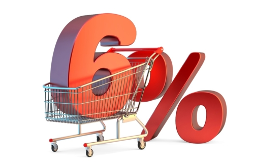 Shopping cart with 6% discount sign - slon.pics - free stock photos and illustrations