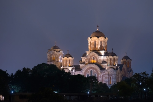 St. Mark's Church. Serbian Orthodox church located in the Tasmajdan park in Belgrade Serbia - slon.pics - free stock photos and illustrations