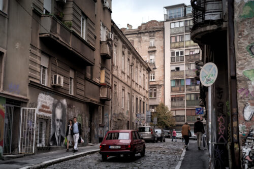 Street scene at Kosancicev Venac neighborhood. Belgrade, Serbia - slon.pics - free stock photos and illustrations