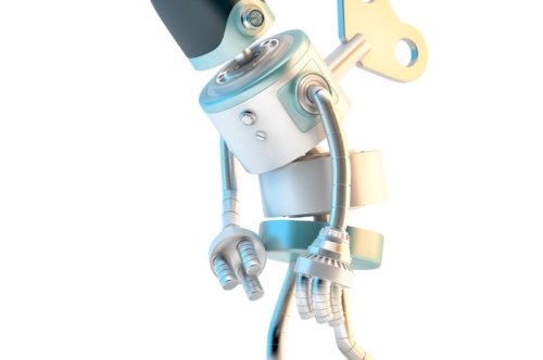 Tired Robot with wind-up key sticking into his back - slon.pics - free stock photos and illustrations