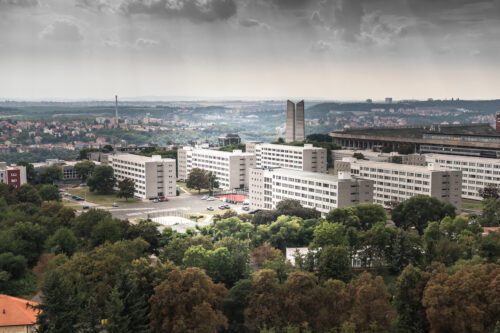 View over Strahov. Ventilation tower, stadium and university accommodation - slon.pics - free stock photos and illustrations