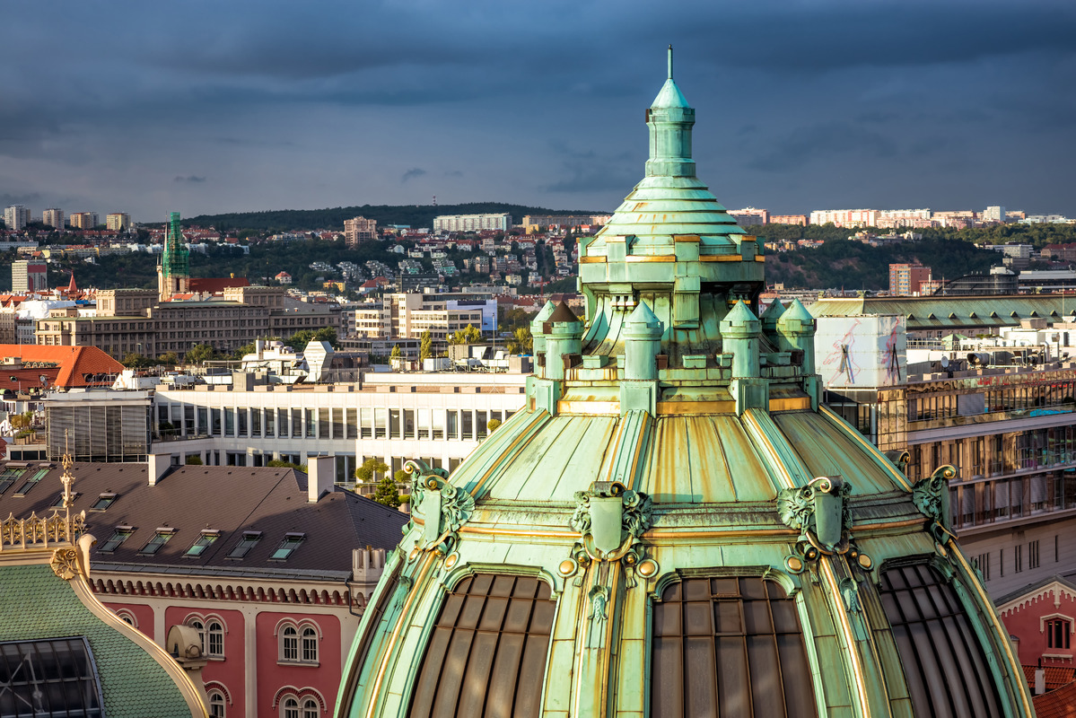 Dome of Obecni Dum (Municipal House). Prague, Czech Republic - slon.pics - free stock photos and illustrations