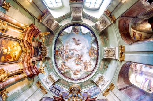 Interior dome of the Baroque St. Nicholas Church on Lesser Town in Prague - slon.pics - free stock photos and illustrations