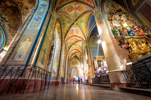 Neo-gothic interior of Basilica of St. Peter and St. Paul. Vysehrad castle complex. Prague, Czech Republic - slon.pics - free stock photos and illustrations