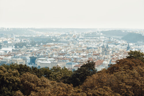 Panorama of Prague from the top of the Petrin gardens in Prague - slon.pics - free stock photos and illustrations