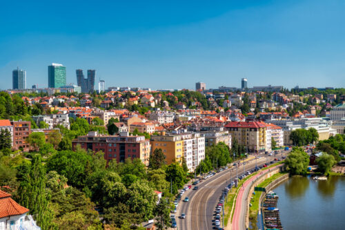 Panorama of the city on a sunny day. Prague, Czech Republic - slon.pics - free stock photos and illustrations