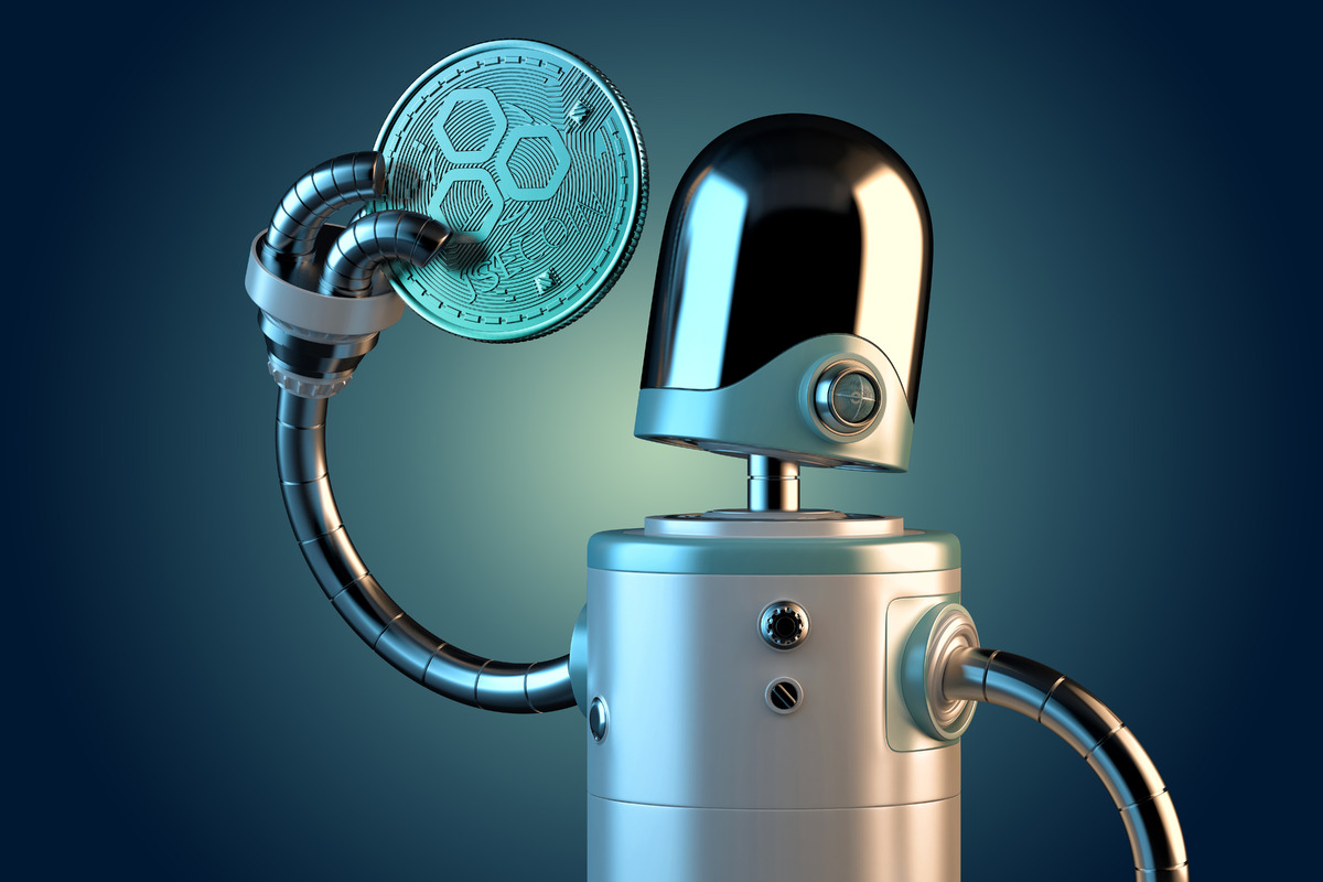 Robot holding JSECoin - slon.pics - free stock photos and illustrations