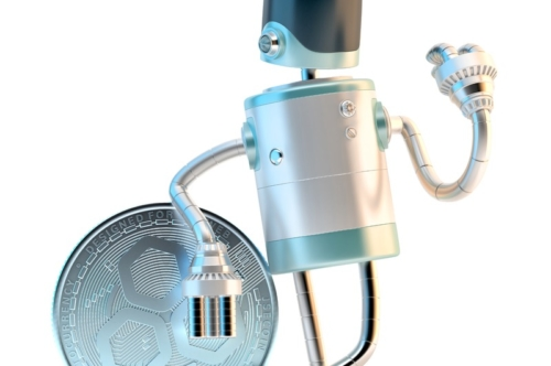 Robot with JSECoin digital currency - slon.pics - free stock photos and illustrations