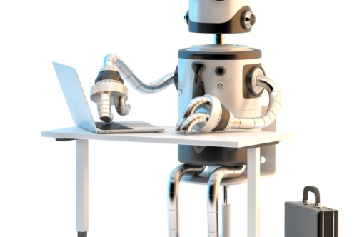 Robots working in the office. 3D illustration. Isolated. Contains clipping path - slon.pics - free stock photos and illustrations