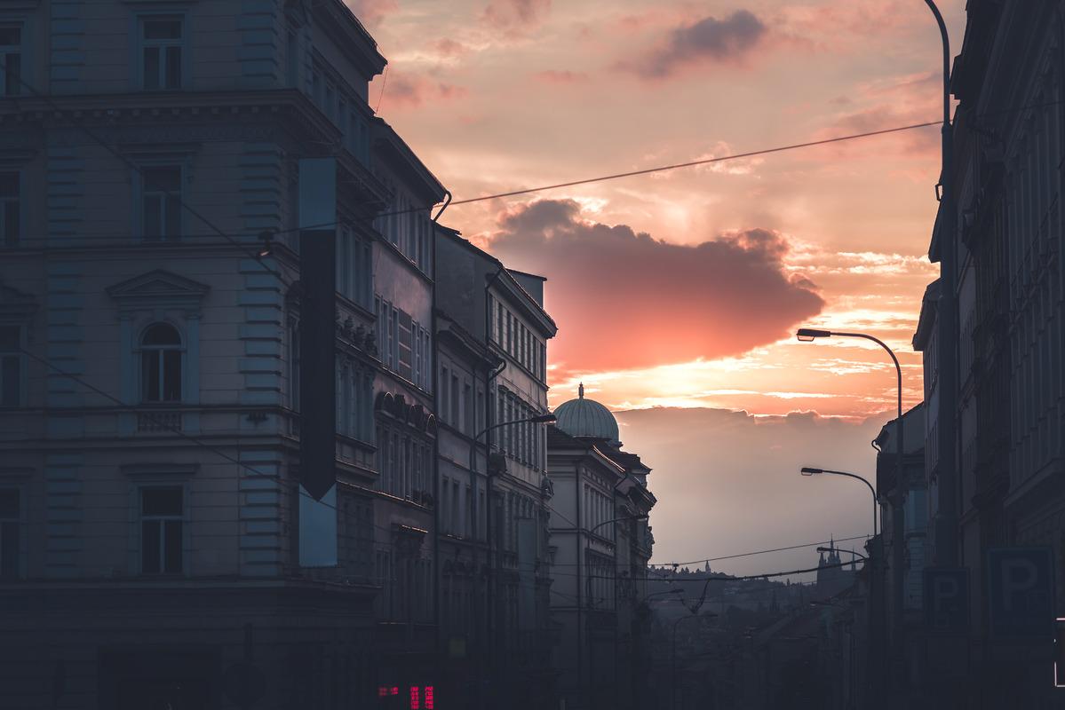 Seifertova street at sunset. Prague, Czech Republic - slon.pics - free stock photos and illustrations