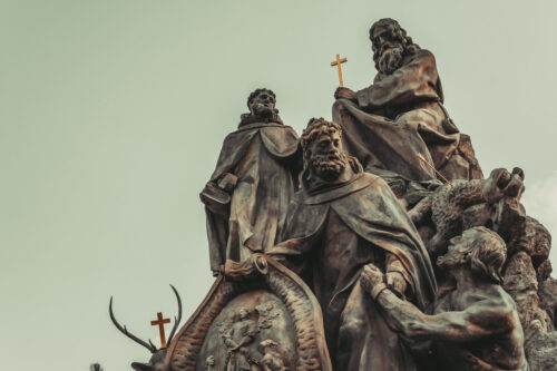 Statue of Saints John of Matha, Feliz of Valois, and Ivan on Charles Bridge - slon.pics - free stock photos and illustrations