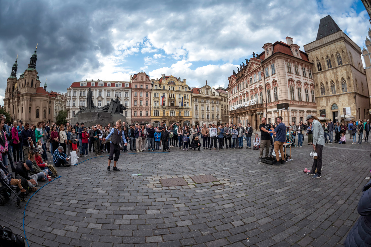 Sven from Sweden with street performance at the Old Town Square in Prague, Czech Republic - slon.pics - free stock photos and illustrations
