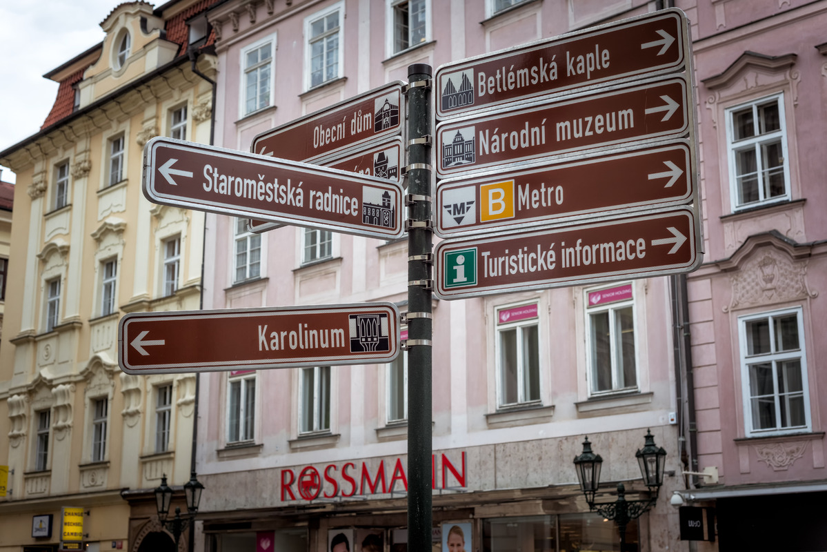 Tourist signpost showing directions to popular attractions of Prague. Czech Republic - slon.pics - free stock photos and illustrations