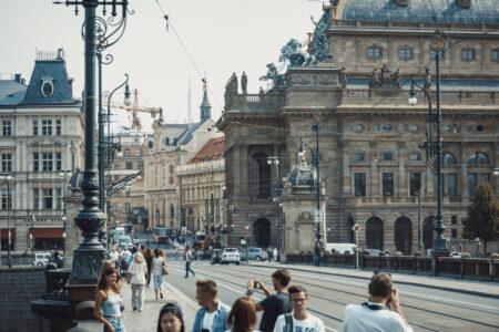 Urban scene in front of National Theatre along Legion bridge. Prague, Czech Republic - slon.pics - free stock photos and illustrations