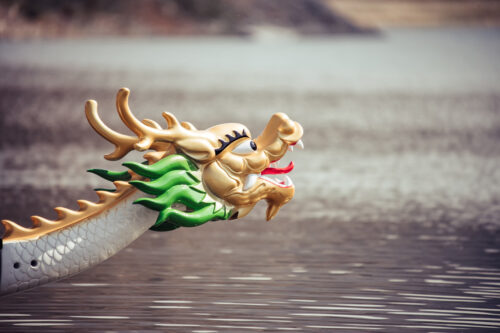 Close up head of dragon boat on the water - slon.pics - free stock photos and illustrations