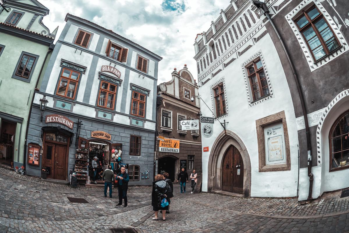 Corner of Panska street. Cesky Krumlov, Czech Republic - slon.pics - free stock photos and illustrations