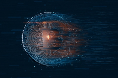 Digital Bitcoin coin. Cryptocurrency concept - slon.pics - free stock photos and illustrations