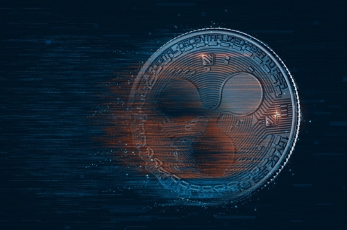 Digital Ripple coin. Cryptocurrency concept - slon.pics - free stock photos and illustrations
