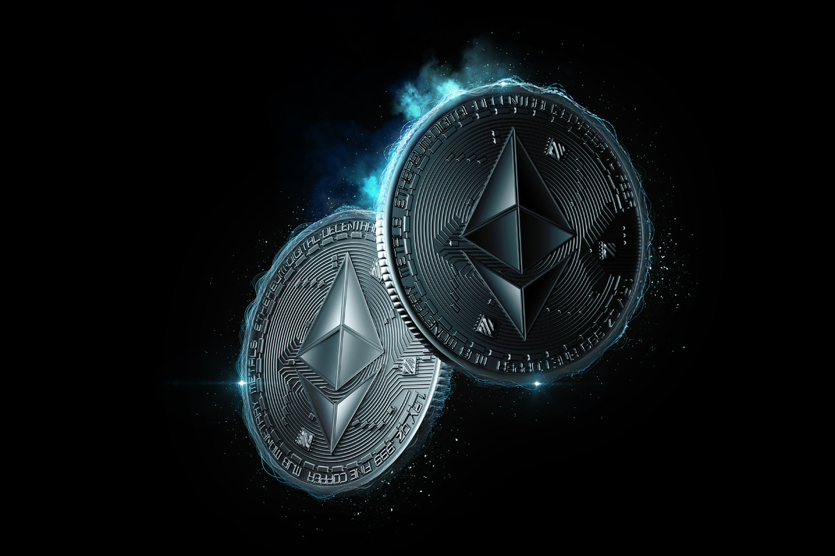 Ethereum coins glowing in the dark - slon.pics - free stock photos and illustrations