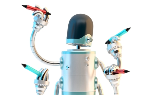 Four-arm robot with pencils. Multitasking concept - slon.pics - free stock photos and illustrations