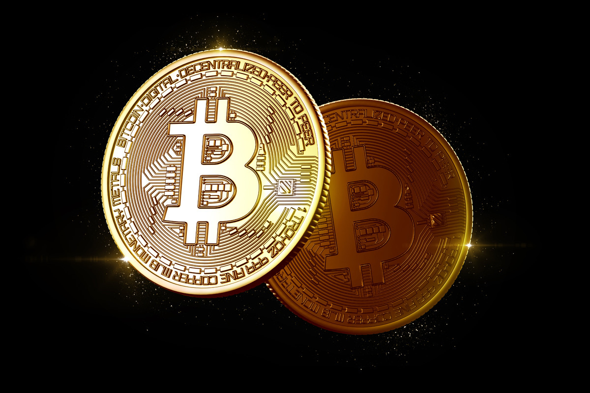 Glowing bitcoin coins - slon.pics - free stock photos and illustrations