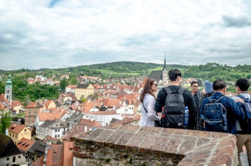 Group of asian tourists at Cesky Krumlov castle - slon.pics - free stock photos and illustrations