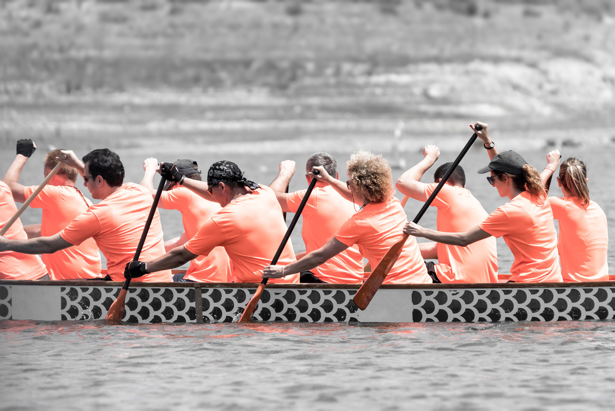 Racers participate in a dragon boat race - slon.pics - free stock photos and illustrations