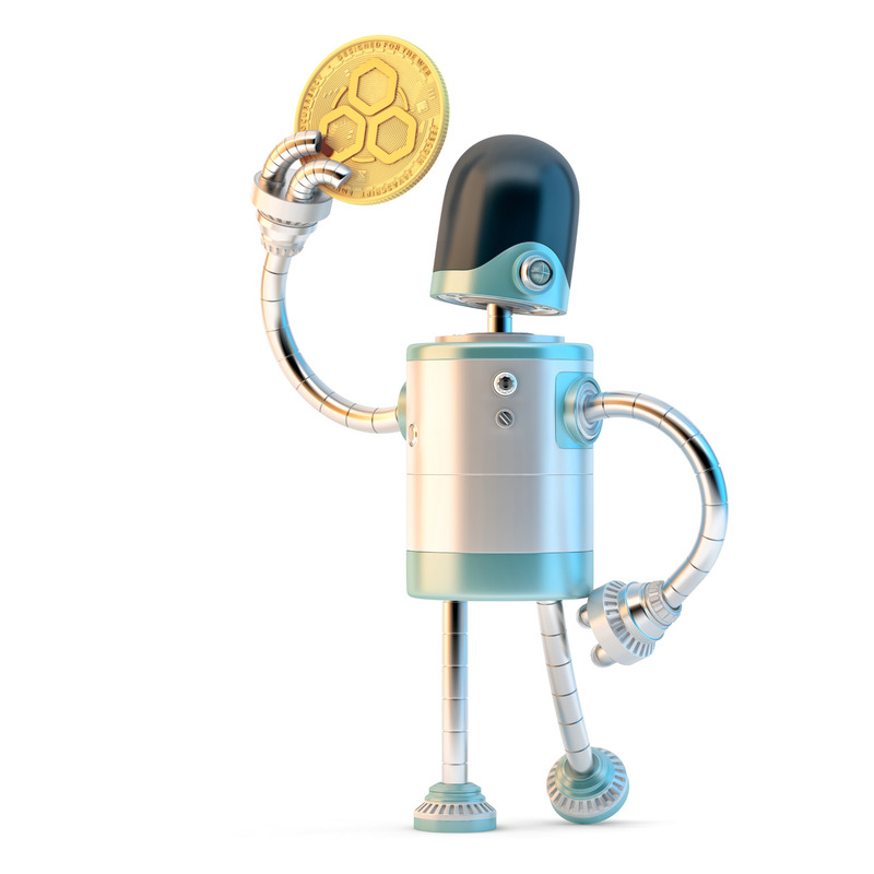 Robot looking at JSE coin in his hand - slon.pics - free stock photos and illustrations