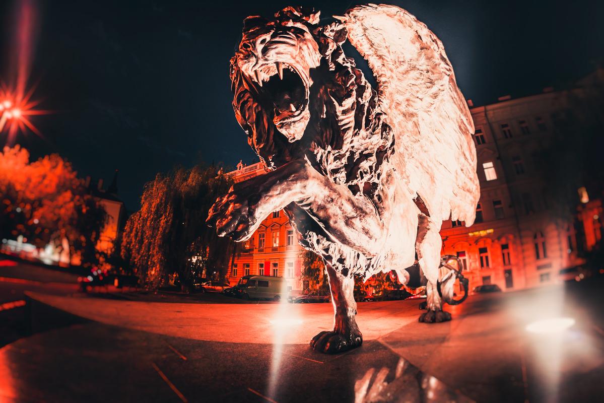 Winged Lion Memorial. Prague, Czech Republic - slon.pics - free stock photos and illustrations