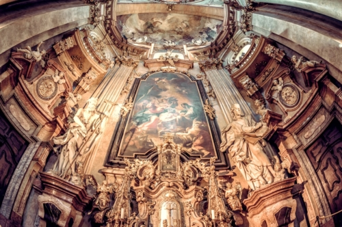 Baroque interior of St Nicholas church. Prague - slon.pics - free stock photos and illustrations