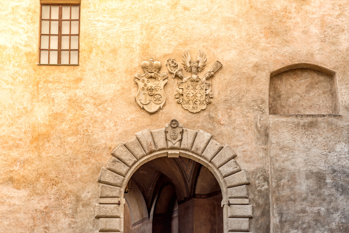 Detail with Coats of Arms at the famous Castle of Cesky Krumlov - slon.pics - free stock photos and illustrations