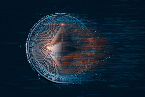Digital Ethereum coin. Cryptocurrency concept - slon.pics - free stock photos and illustrations