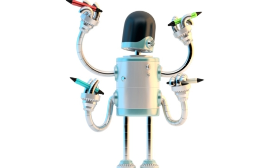 Four-arm robot with pencils - slon.pics - free stock photos and illustrations