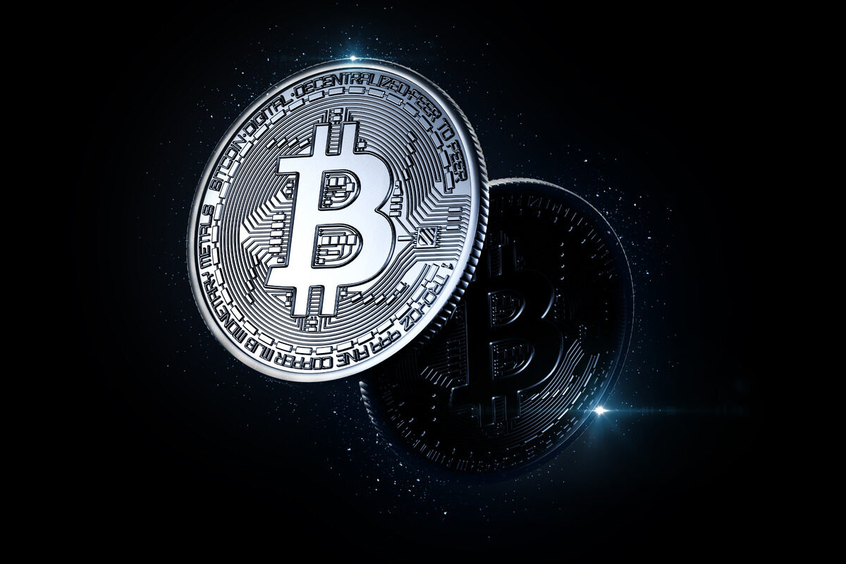 Glowing bitcoin. Cryptocurrency concept - slon.pics - free stock photos and illustrations