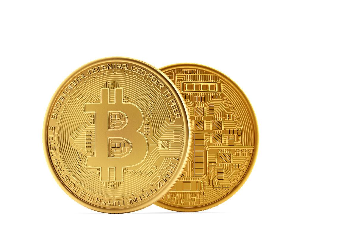 Golden Bitcoin coins - slon.pics - free stock photos and illustrations