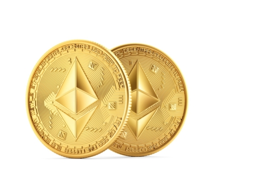Golden Ethereum coins - slon.pics - free stock photos and illustrations