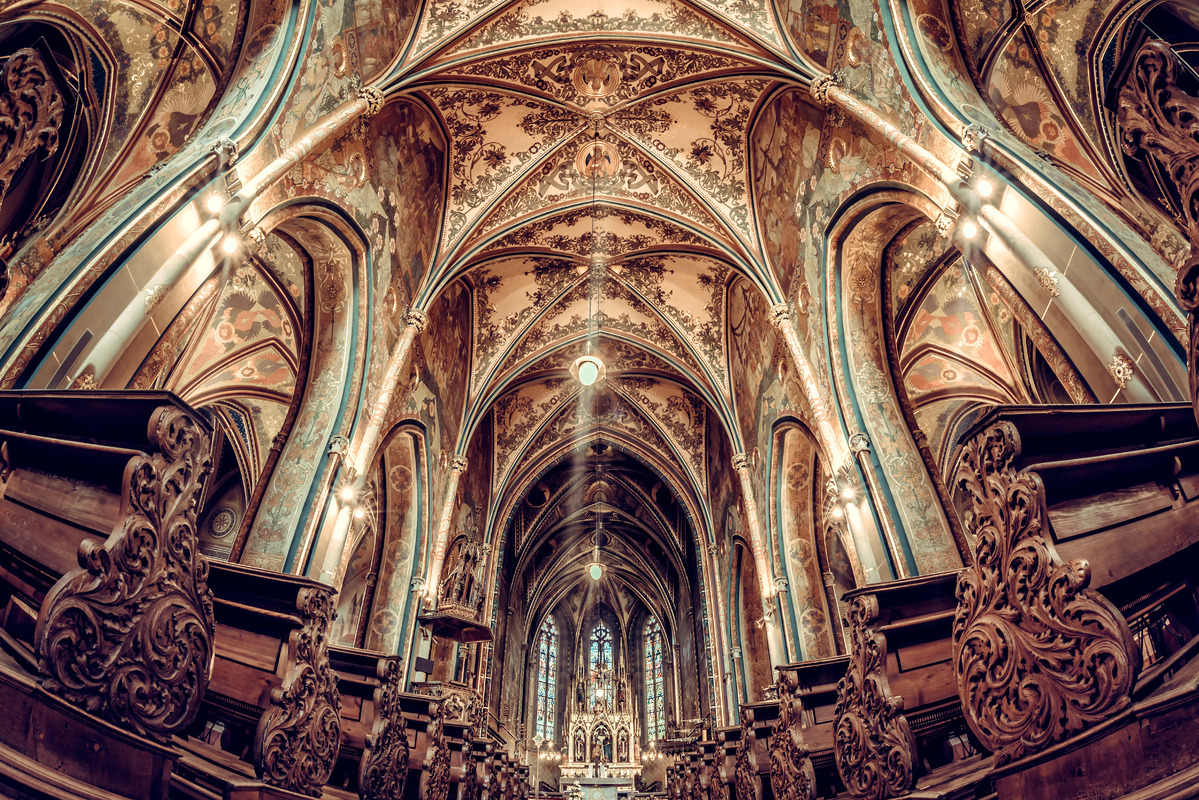 Interior of Basilica of St. Peter and Paul. Vysehrad castle complex - slon.pics - free stock photos and illustrations
