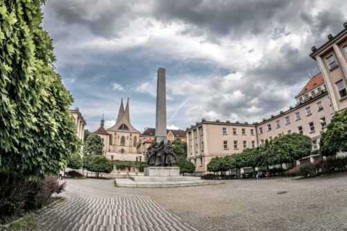 Palacky Square, Czechoslovak Legion monument and Emmaus monastery on the background - slon.pics - free stock photos and illustrations