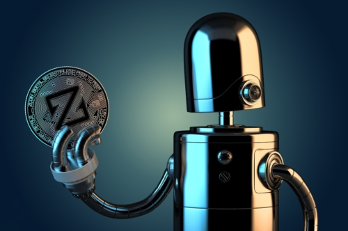 Robot holding Zcoin - slon.pics - free stock photos and illustrations