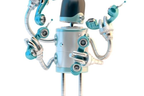 Robot with phone tubes. Telecommunication concept - slon.pics - free stock photos and illustrations