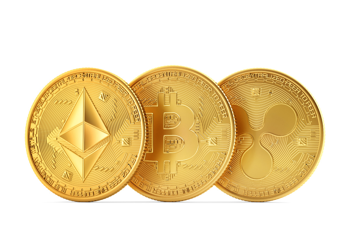 Set of cryptocurrencies: Ethereum, Bitcoin, Ripple - slon.pics - free stock photos and illustrations