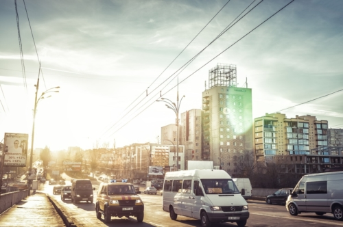 Traffic at evening on Grigore Vieru Boulevard. Chisinau - slon.pics - free stock photos and illustrations